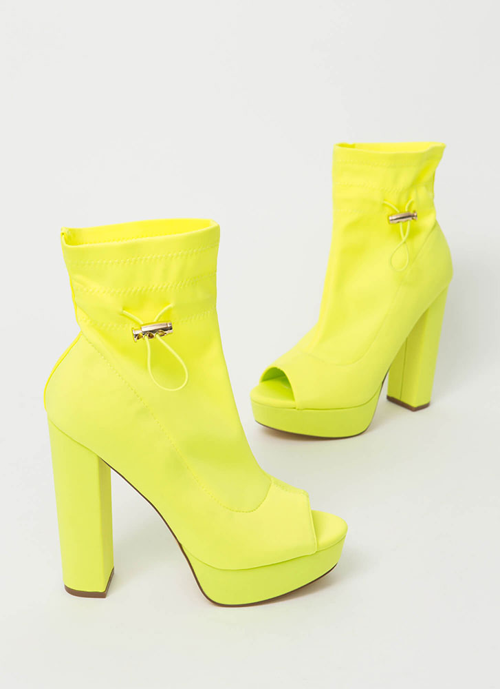 Peep These Chunky Drawstring Booties YELLOW
