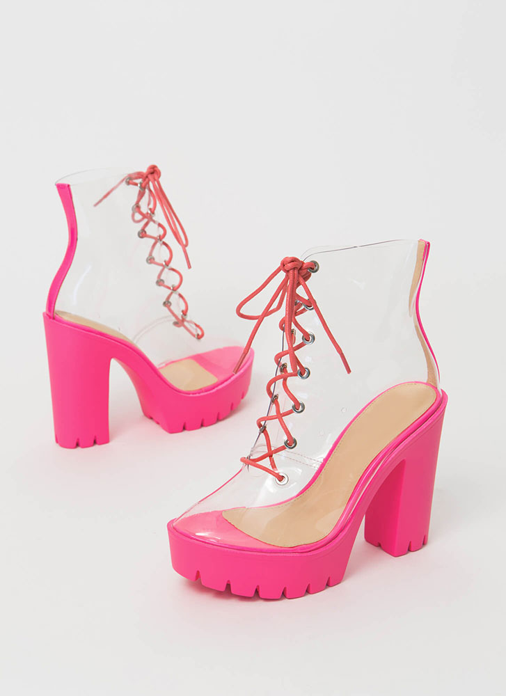 See Thru You Lace-Up Clear PVC Booties FUCHSIA