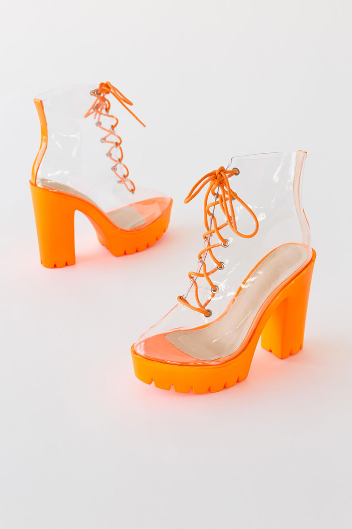 See Thru You Lace-Up Clear PVC Booties ORANGE
