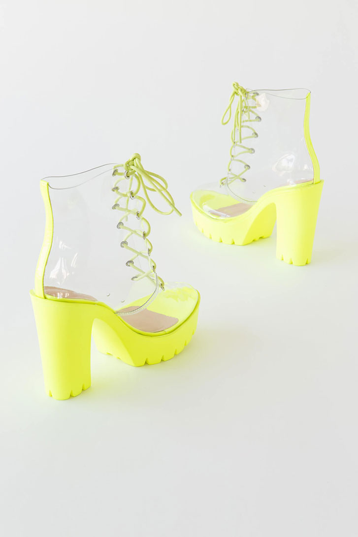 See Thru You Lace-Up Clear PVC Booties YELLOW