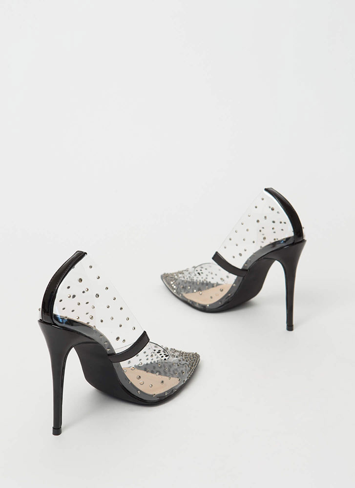 Clearly Sparkly Jeweled PVC Pumps BLACK