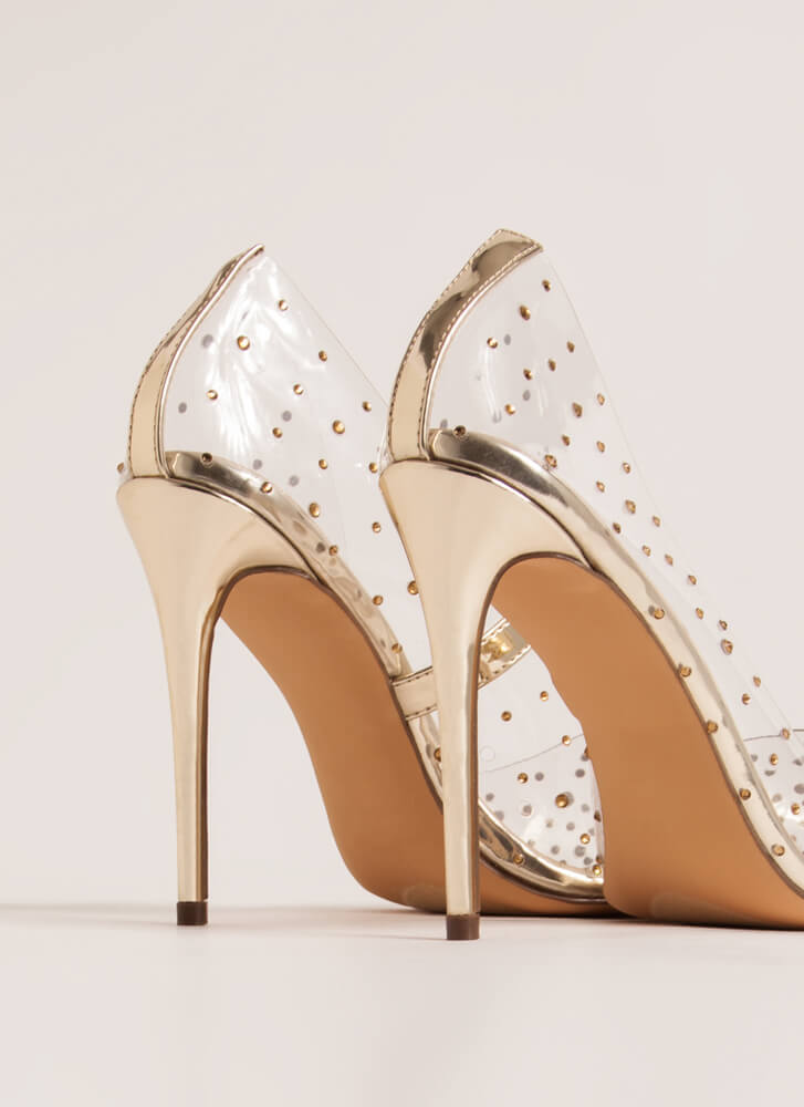 Clearly Sparkly Jeweled PVC Pumps GOLD