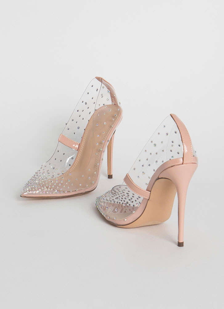 Clearly Sparkly Jeweled PVC Pumps NUDE