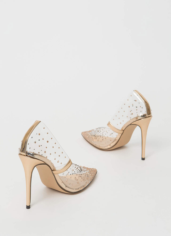Clearly Sparkly Jeweled PVC Pumps ROSEGOLD