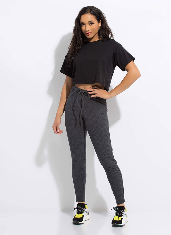 Warming Sign Rib Knit Leggings CHARCOAL
