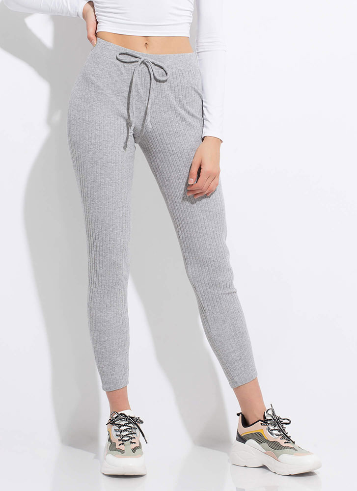 Warming Sign Rib Knit Leggings GREY