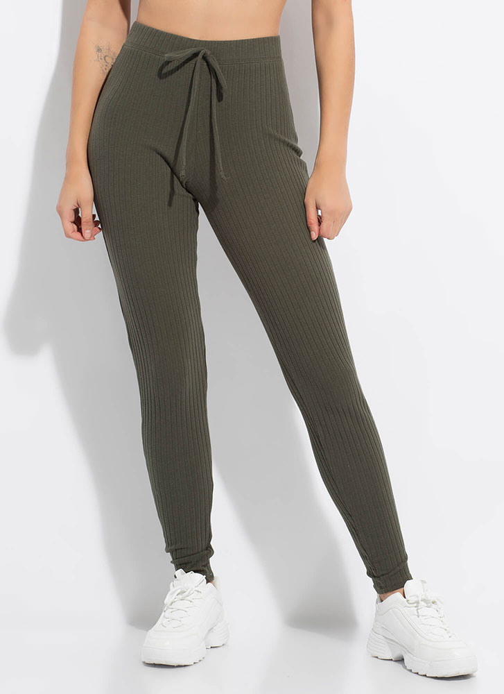 Warming Sign Rib Knit Leggings OLIVE
