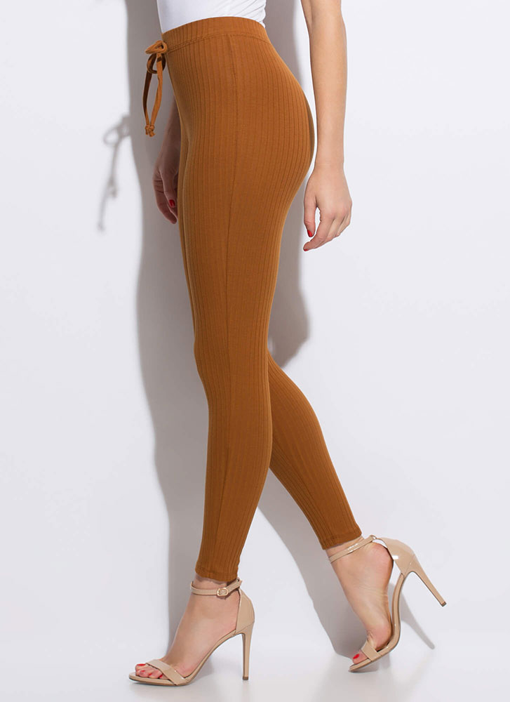 Warming Sign Rib Knit Leggings TERRACOTTA
