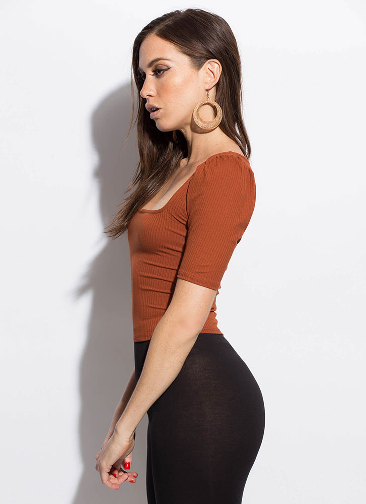We're Square Puffy Sleeve Crop Top RUST