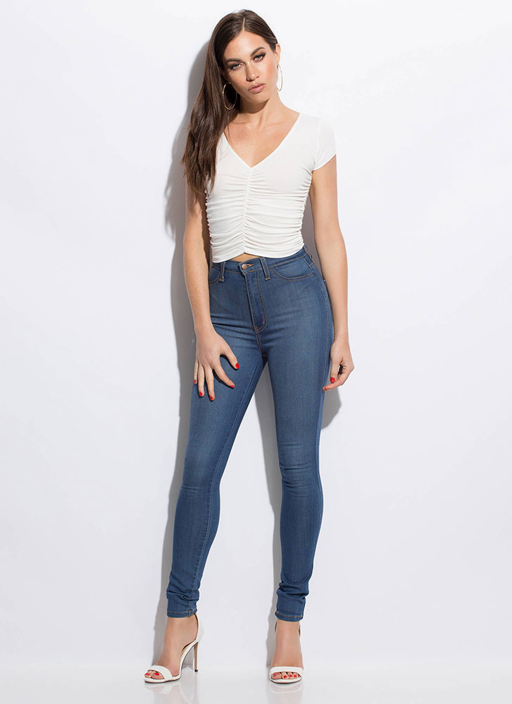 I'm Shirr Of It Ruched Crop Top IVORY