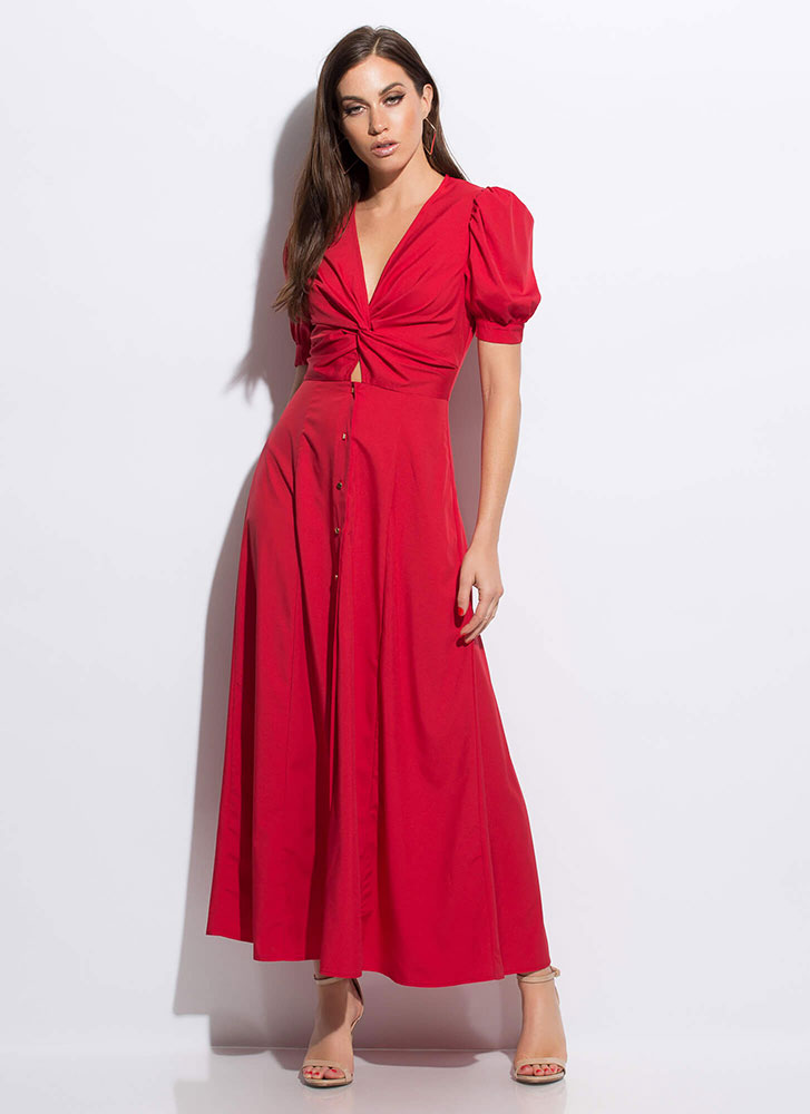 Twist Ending Button-Down Maxi Dress RED