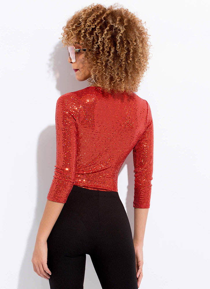 Disco With A Twist Sequined Bodysuit RUST