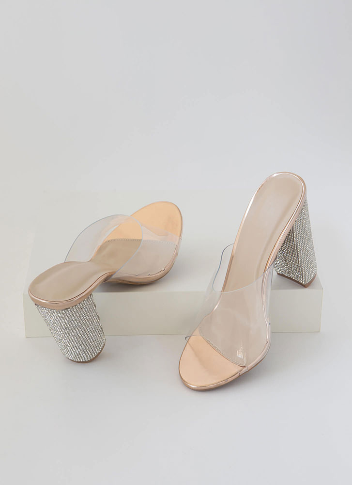 Sparkle Clear Faux Leather Mule Heels ROSEGOLD