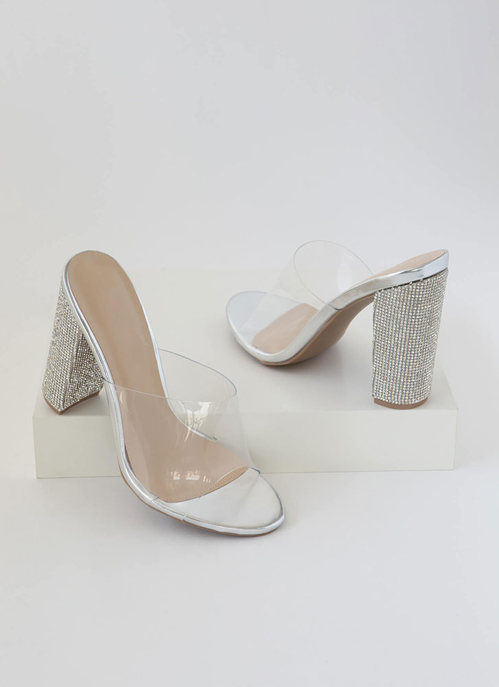 Sparkle Clear Faux Leather Mule Heels SILVER