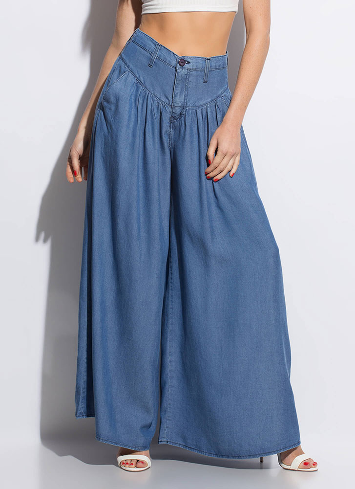Swimmingly Super Wide Chambray Pants BLUE
