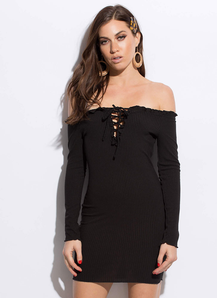 Frilly Cute Lace-Up Off-Shoulder Dress BLACK