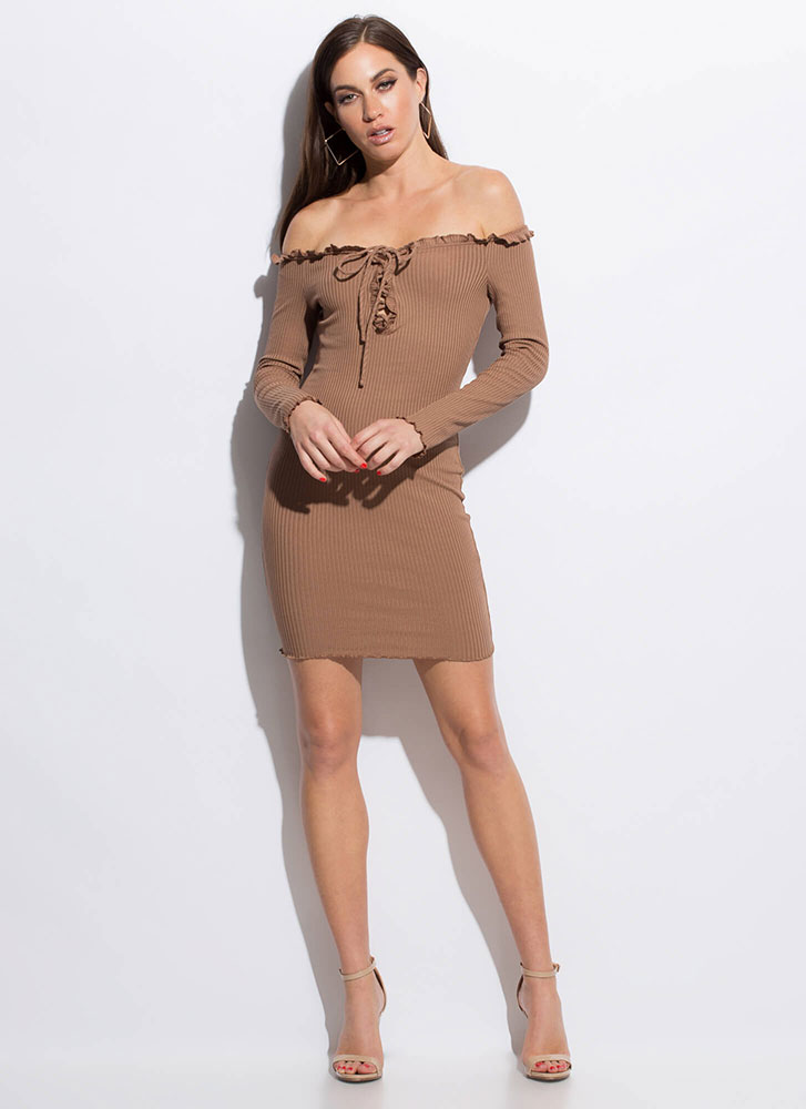Frilly Cute Lace-Up Off-Shoulder Dress BROWN
