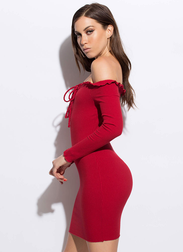 Frilly Cute Lace-Up Off-Shoulder Dress RED