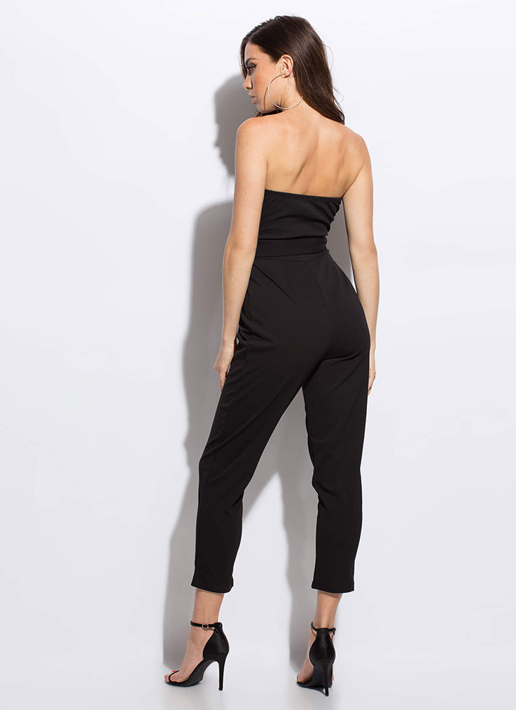 No Sweetheart Belted Strapless Jumpsuit BLACK