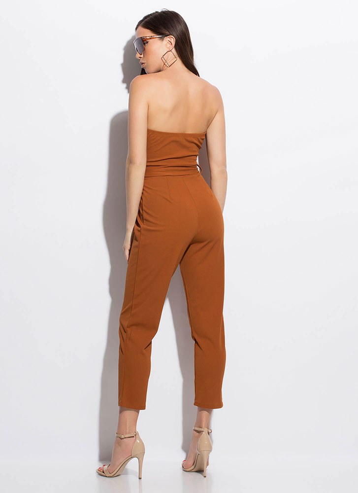 No Sweetheart Belted Strapless Jumpsuit COGNAC