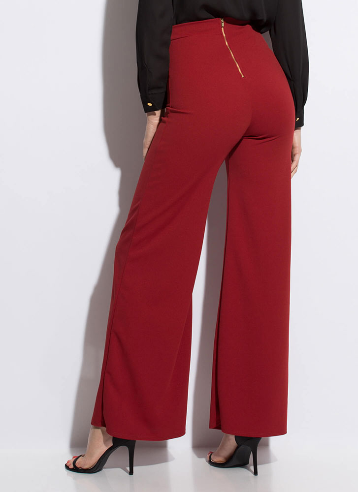 Eyes Wide Open Zip-Back Palazzo Pants RUST