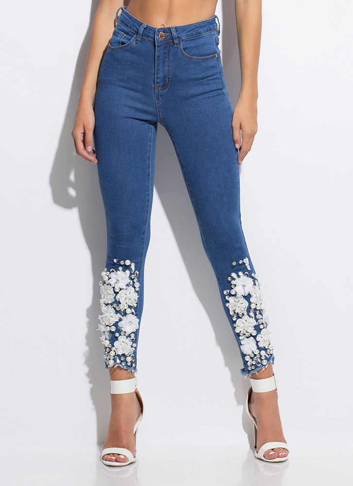 Flowers Pearls And Jewels Skinny Jeans by Go Jane