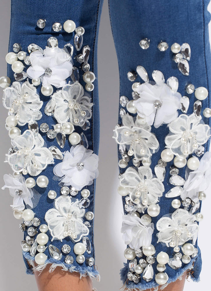 Flowers Pearls And Jewels Skinny Jeans BLUE