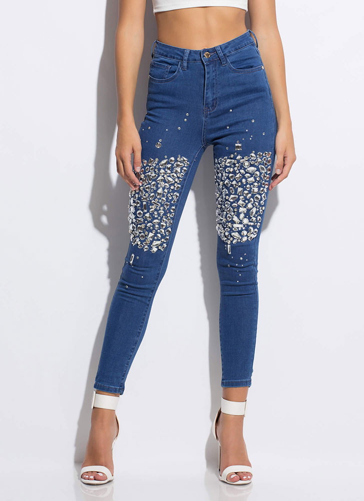 Clear As Crystal Jeweled Skinny Jeans BLUE