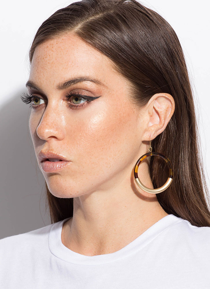 You Can Halve It All Ring Charm Earrings TORTOISE