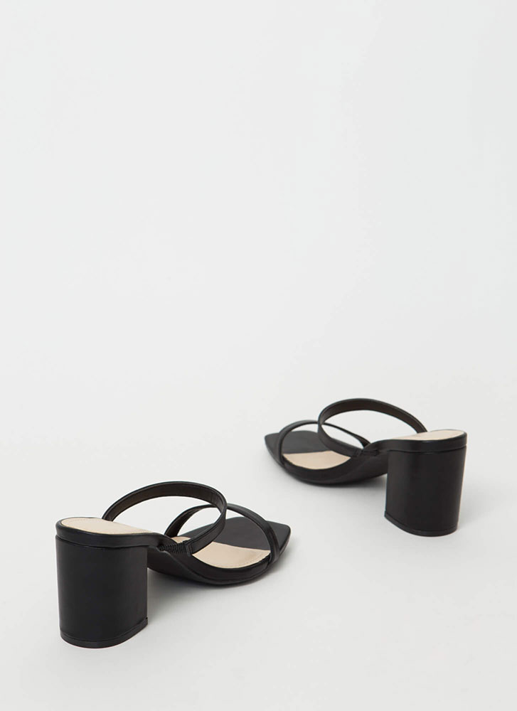 Keep Me Strappy Faux Leather Block Heels BLACK