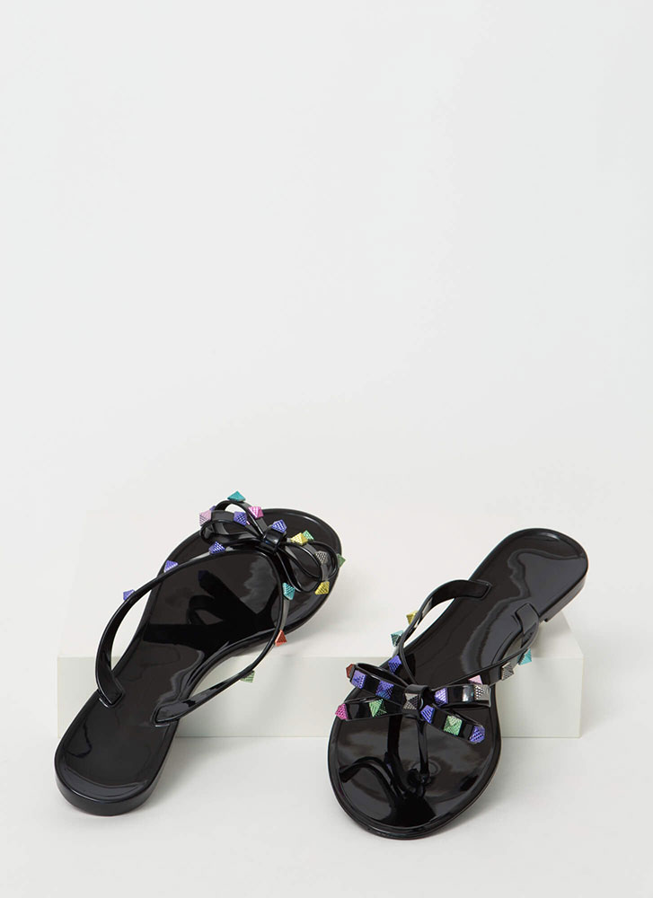 Bow Jane Studded Jelly Thong Sandals BLACK