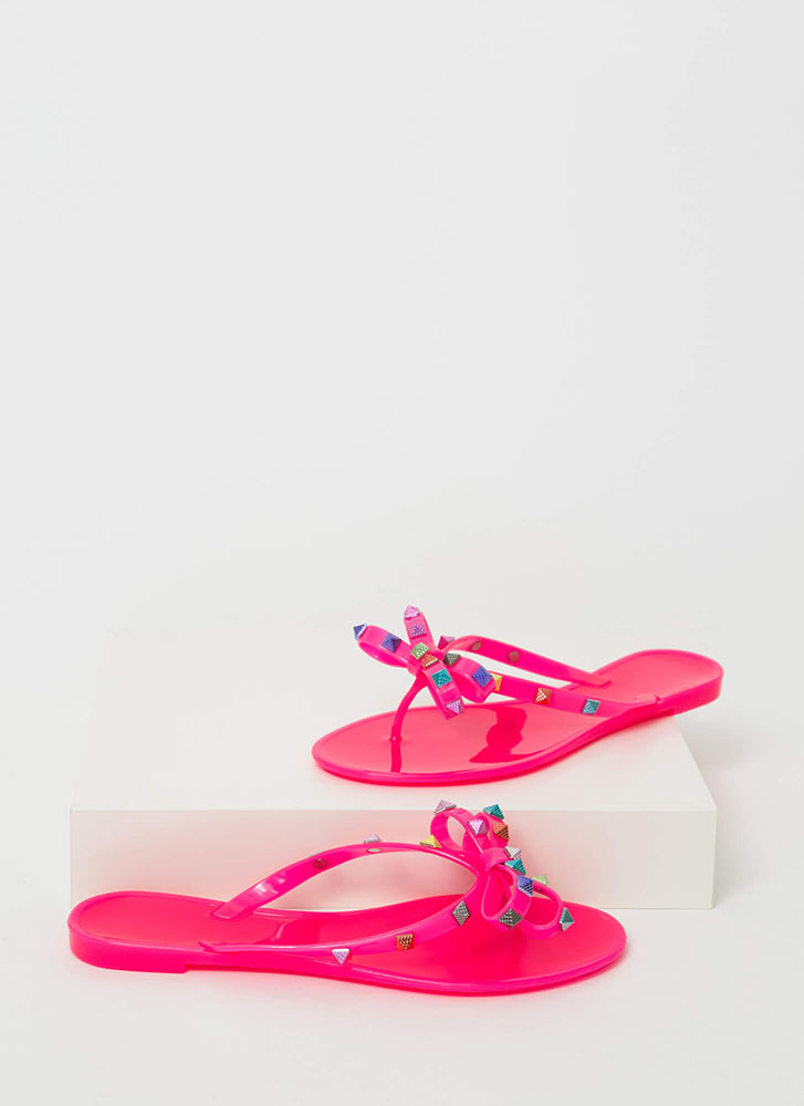 Bow Jane Studded Jelly Thong Sandals NEONPINK