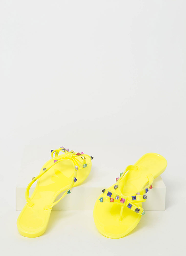 Bow Jane Studded Jelly Thong Sandals NEONYELLOW