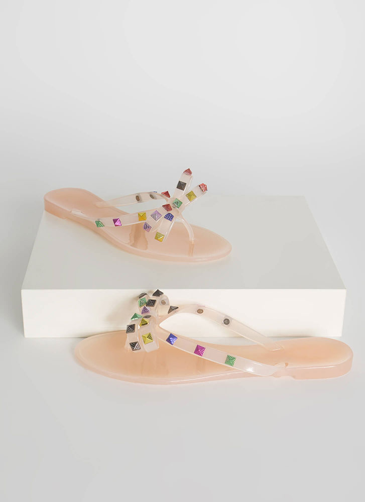 Bow Jane Studded Jelly Thong Sandals NUDE