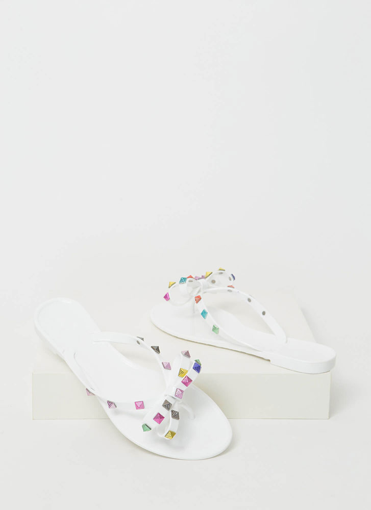 Bow Jane Studded Jelly Thong Sandals WHITE
