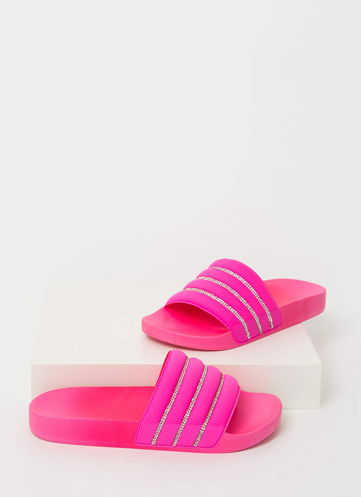 Cool Pool Rhinestone Trim Slide Sandals HOTPINK