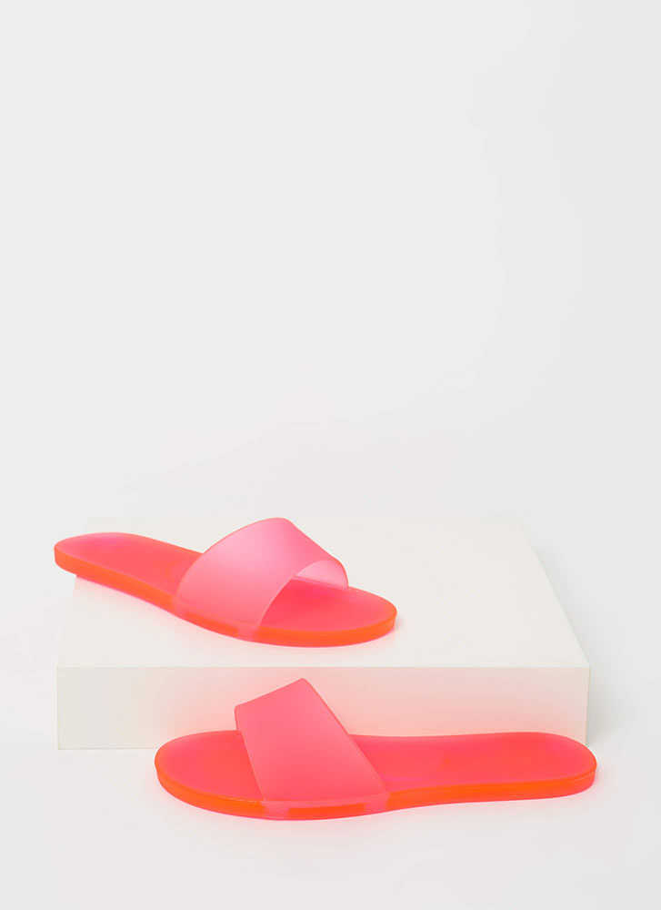 Down At The Pool Jelly Slide Sandals NEONPINK