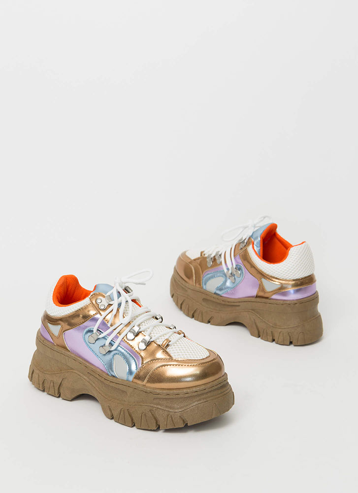 Higher Level Platform Sneakers METALLIC
