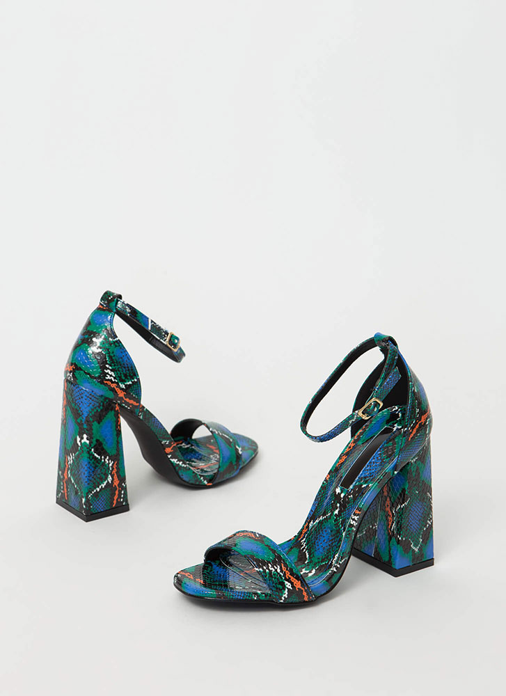 Retro Flare Chunky Snake Print Heels by Go Jane