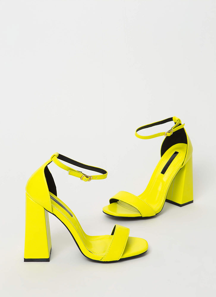 Retro Flare Chunky Faux Leather Heels YELLOW