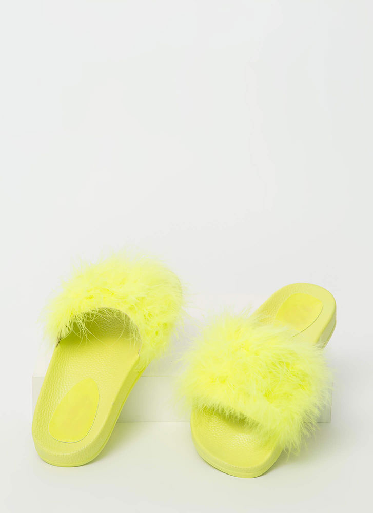 Furry Along Feathery Slide Sandals YELLOW