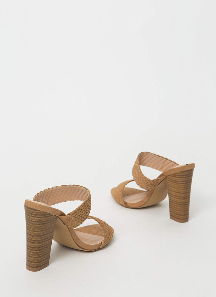 Weave Me With My Strappy Chunky Heels TAUPE