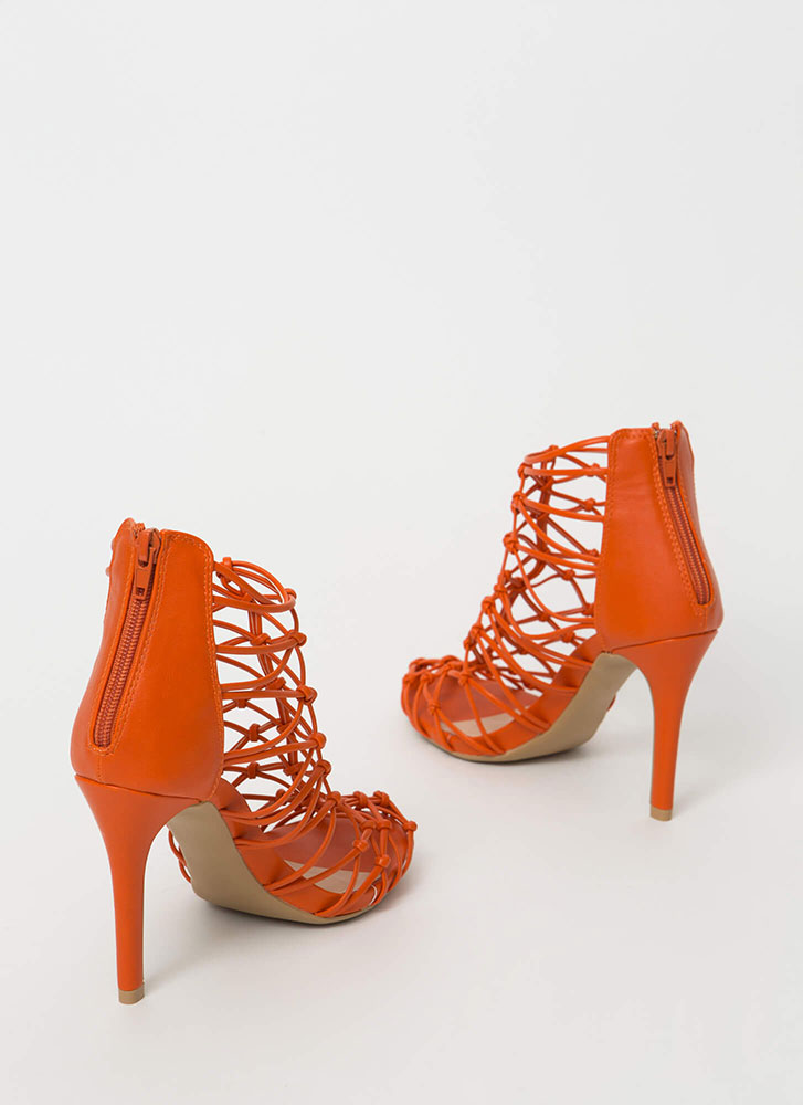 All In Knots Strappy Caged Heels ORANGE