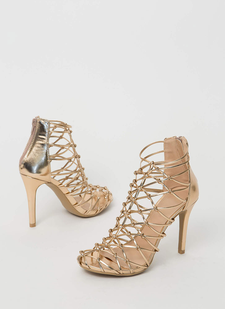 All In Knots Strappy Caged Heels ROSEGOLD (Final Sale)