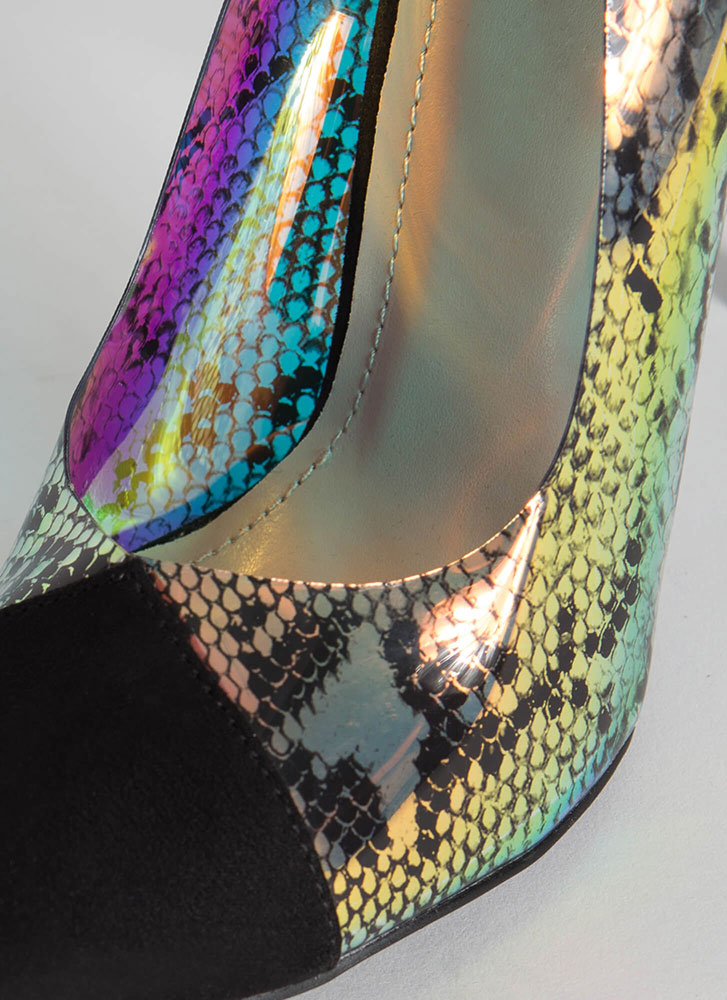 Gimme A Hiss Holographic Snake Pumps BLACK