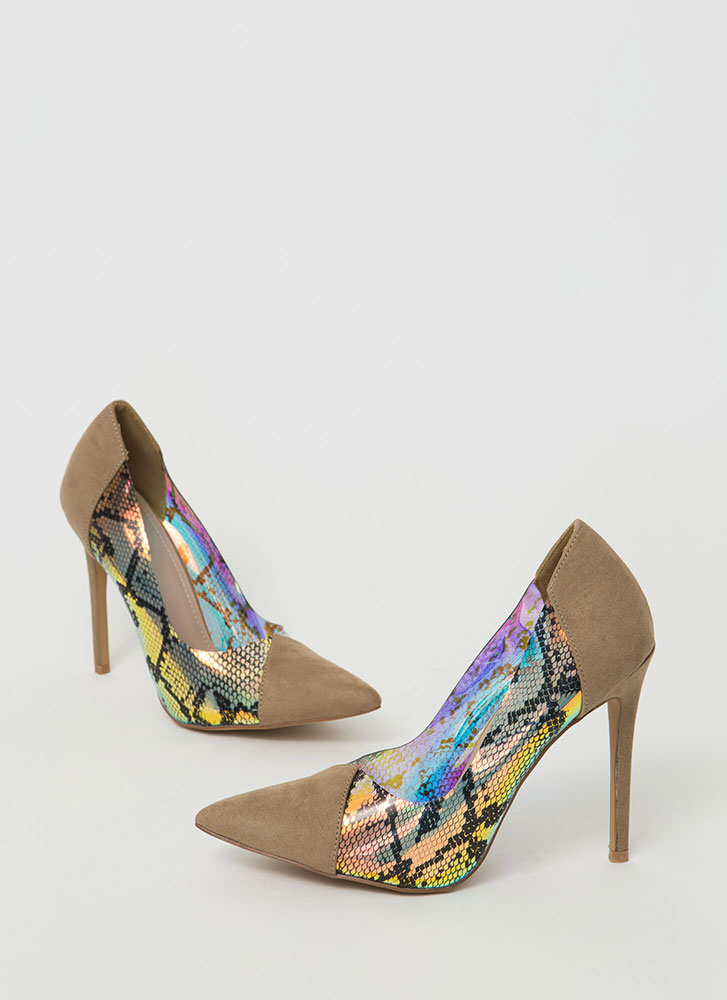 Gimme A Hiss Holographic Snake Pumps TAUPE