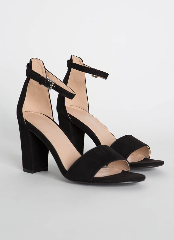 Far And Wide Chunky Faux Suede Heels BLACK