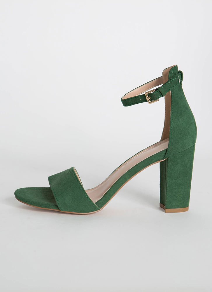 Far And Wide Chunky Faux Suede Heels JADE