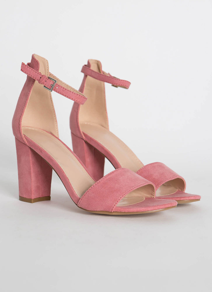 Far And Wide Chunky Faux Suede Heels MAUVE