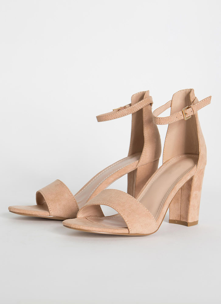 Far And Wide Chunky Faux Suede Heels TAUPE